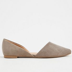 Torrid Faux Suede Perforated D'Orsay Flat, Size 8W